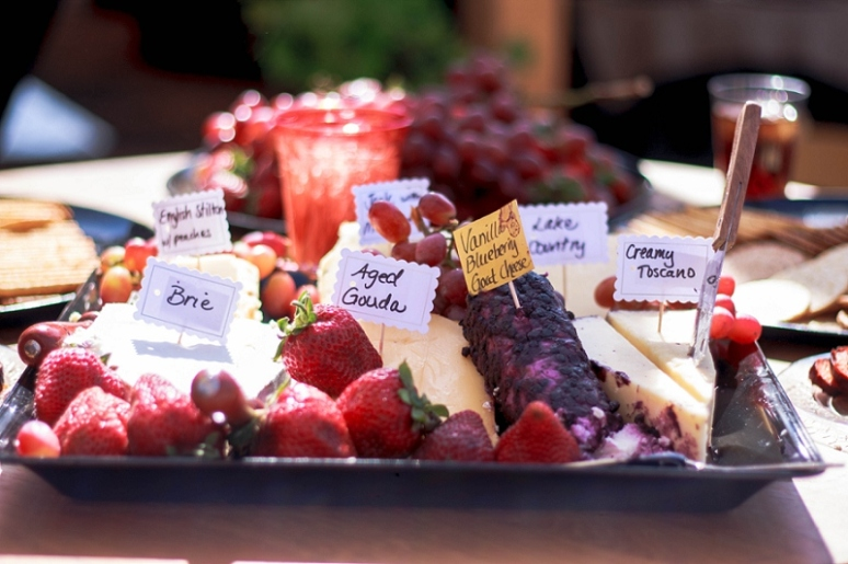 fruit and cheese platter los angeles desert wedding photos