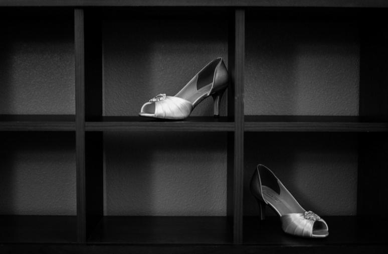 bride silver wedding shoes photo