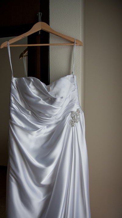 bride satin wedding dress photo