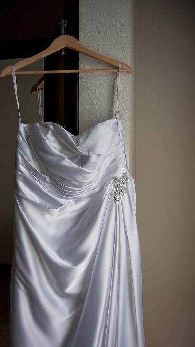 bride satin wedding dress photo