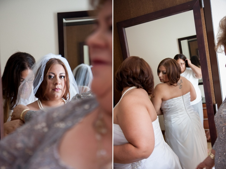 bride getting ready for wedding at hyatt place ontario photo