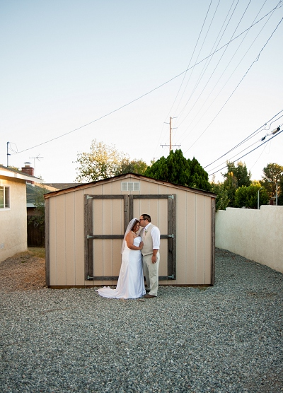 sunset barn wedding bride and groom photo
