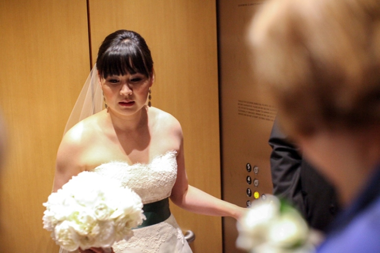 bride in elevator at walt disney concert hall wedding photo