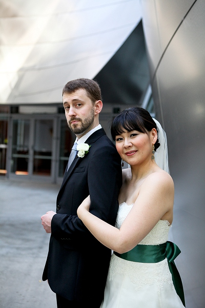 photography by paulina bride and groom walt disney concert hall wedding photo
